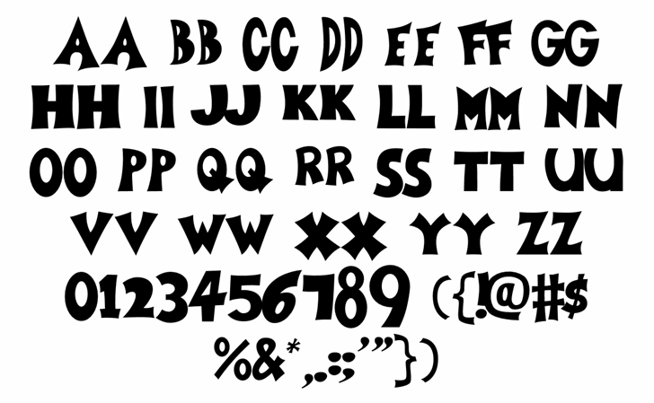 Zoboo Type Regular Font Letters Charmap