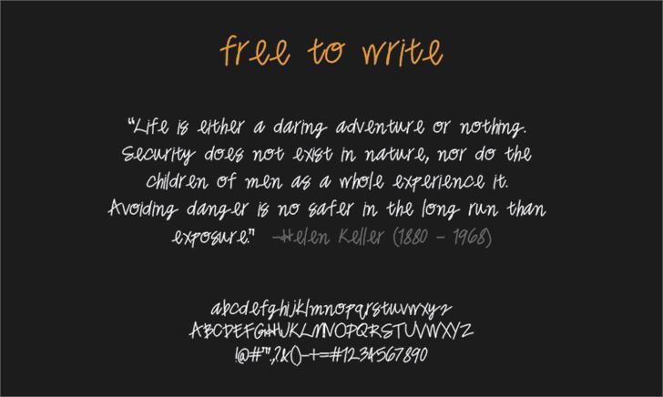 freetowrite Font screenshot text