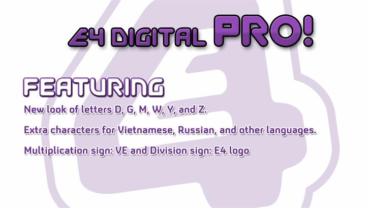 EFour Digital Pro Font screenshot design
