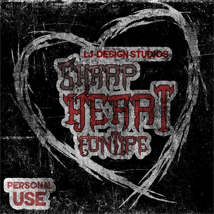Sharp Heart Font drawing poster
