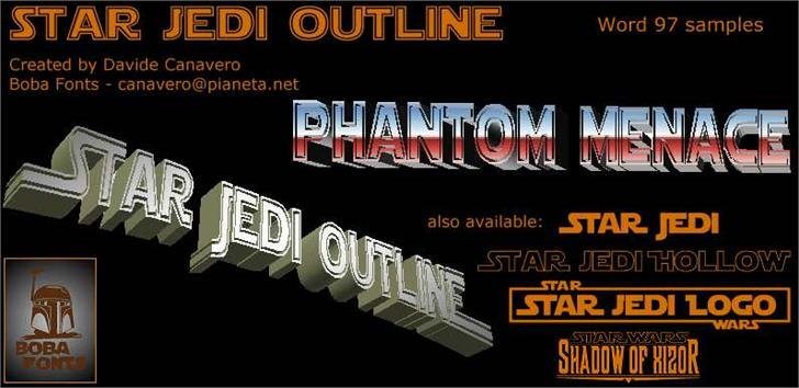 Star Jedi Outline Font text book