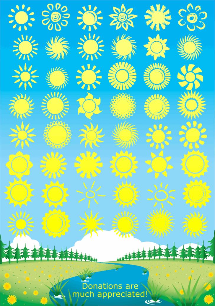 Suns and Stars Font yellow pattern