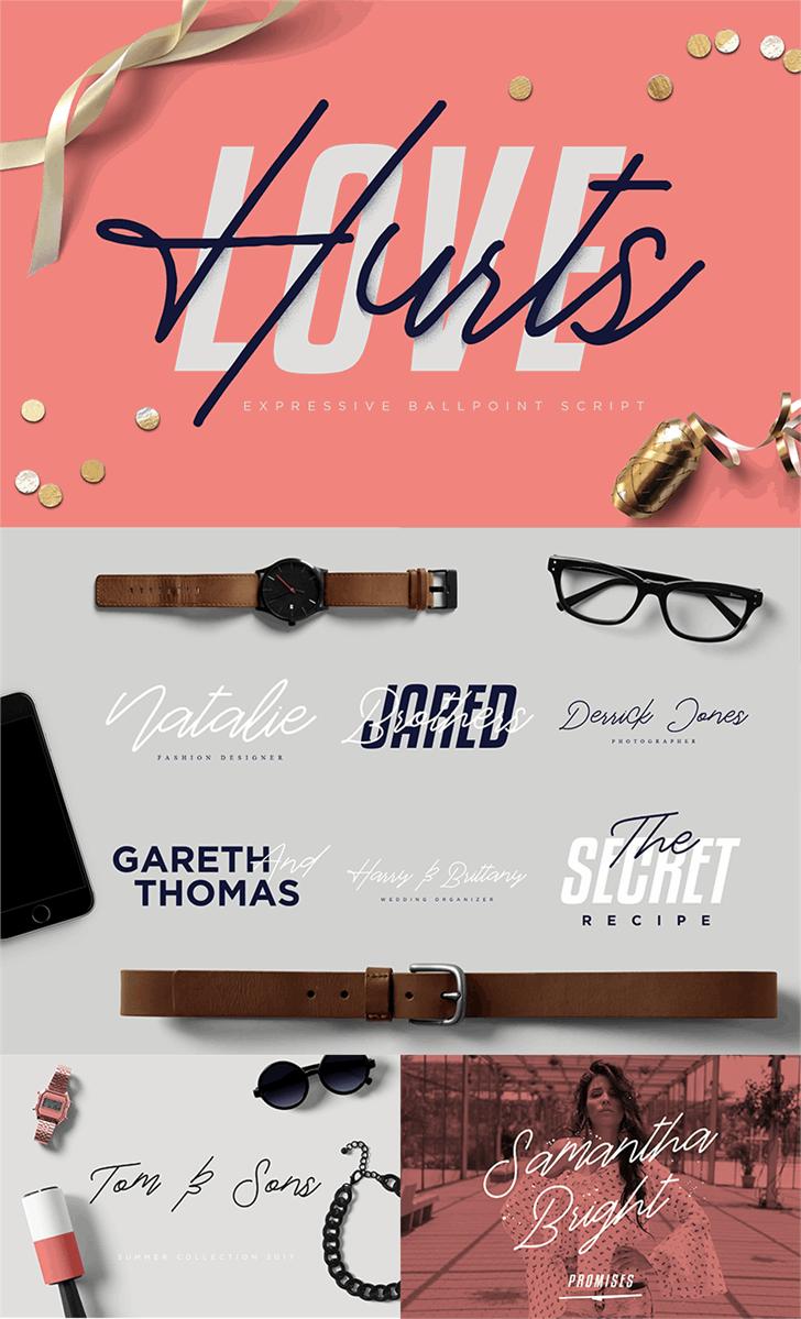 Love Hurts DEMO Font design graphic