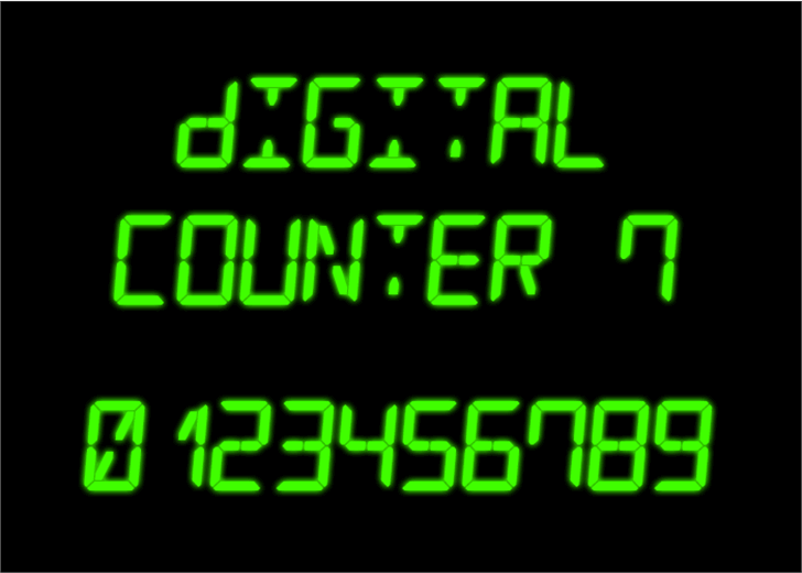 Digital Counter 7 Font clock ball