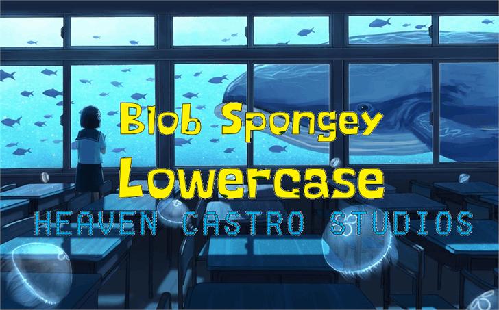 Blob Spongey Lowercase Font screenshot indoor