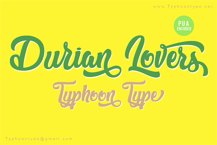 Durian Lovers Font design typography
