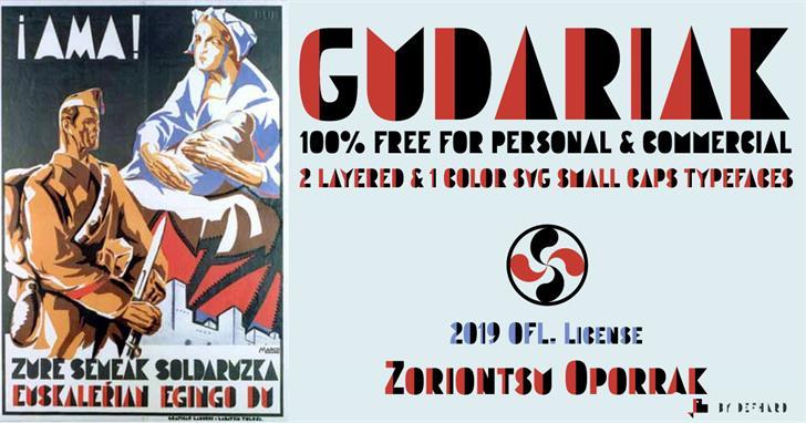 Gudariak Font poster cartoon