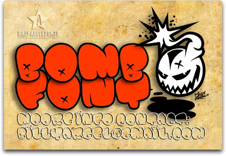 BOMB FONT cartoon illustration