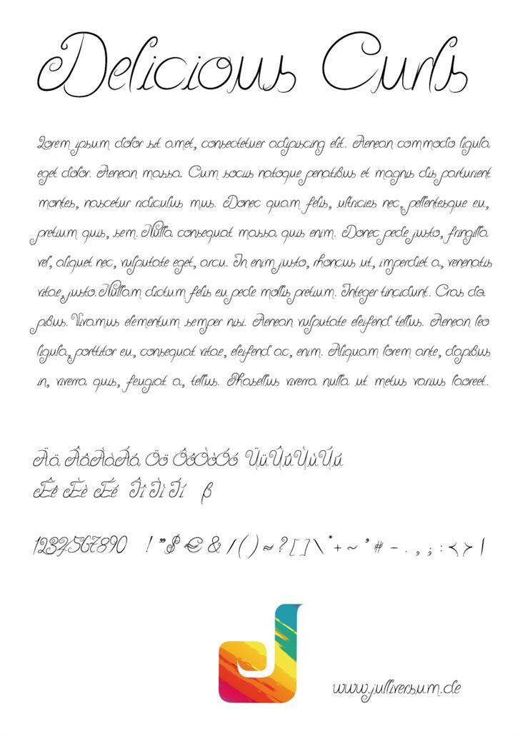 Delicious Curls Font text letter