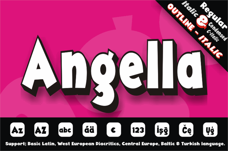 Angella Font screenshot design