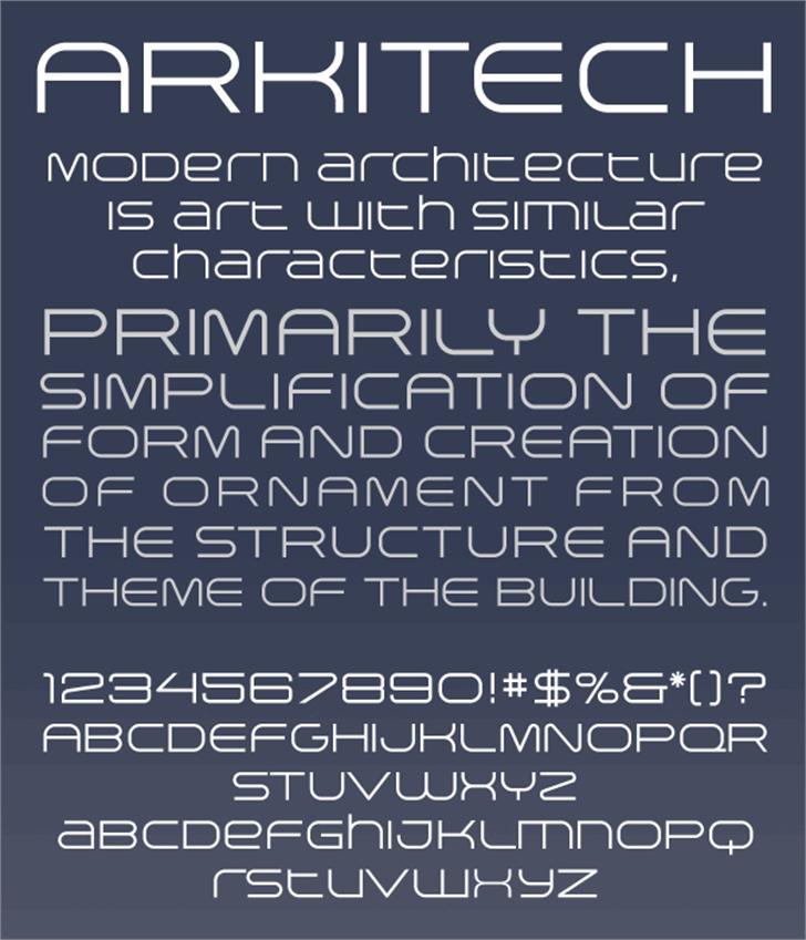 Arkitech Font text handwriting
