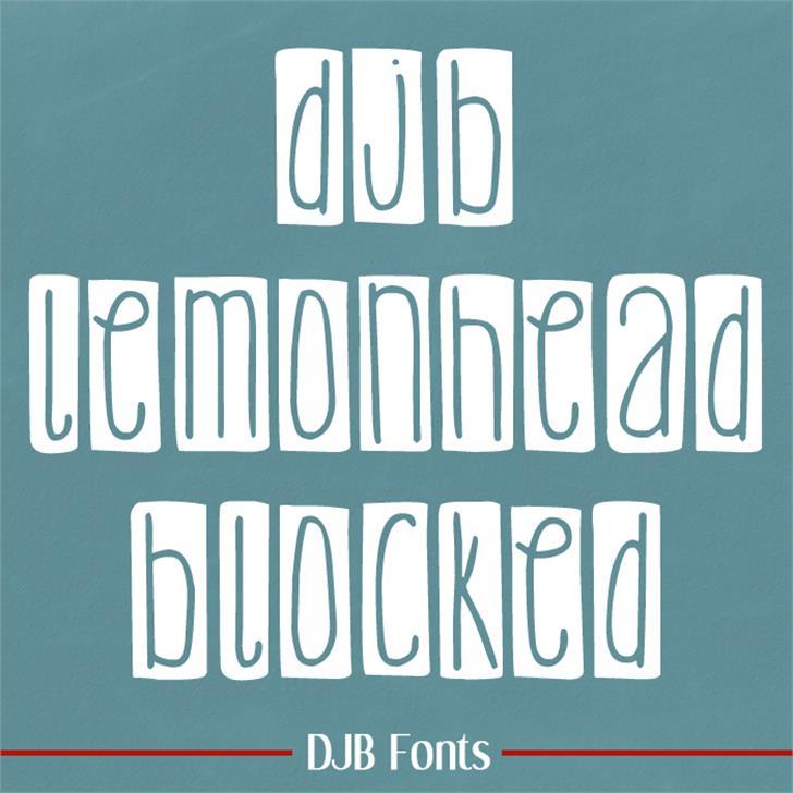 DJB Lemon Head Blocked Font text font