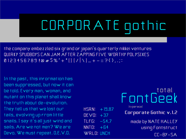 Corporate Gothic NBP font by total FontGeek DTF, Ltd.