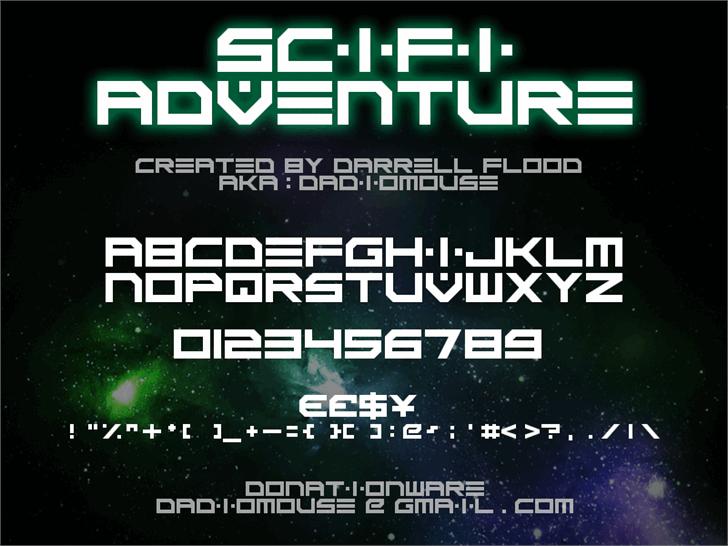 Scifi Adventure Font screenshot design