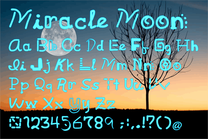 Miracle Moon Font text graphic