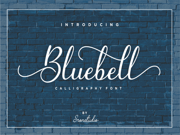 Bluebell Font handwriting brick