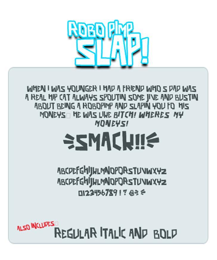 robo pimp slap Font design text