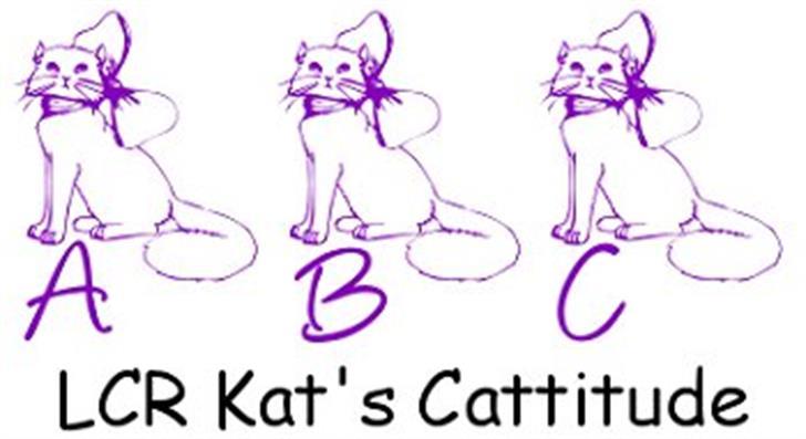 LCR Kat's Cattitude Font cartoon drawing