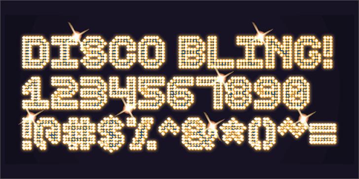 Disco Bling Font clock