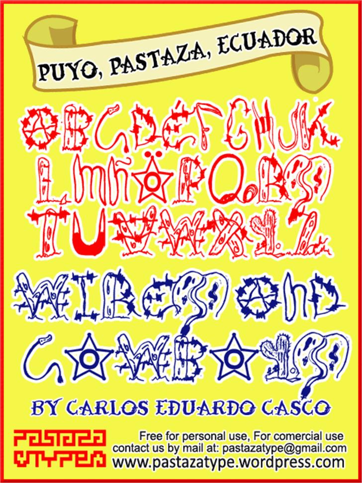 Wires and Cowboys Font design illustration