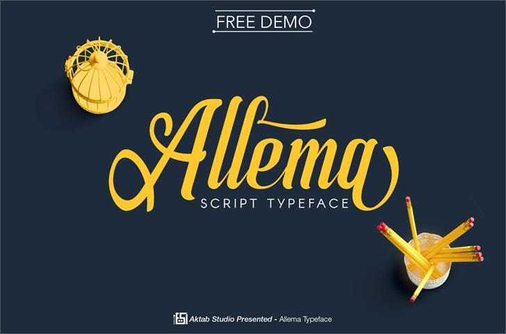 Allema Font design screenshot