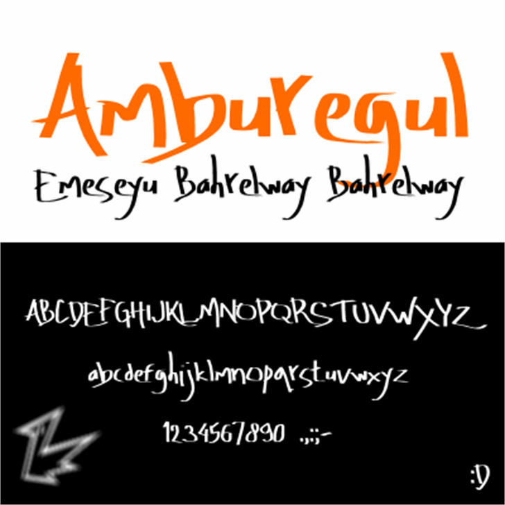 Amburegul Font handwriting text