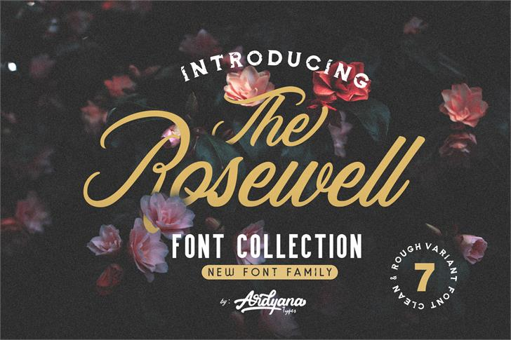 Rosewell Script Demo Font design poster