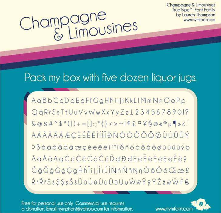 Champagne & Limousines font by Nymphont
