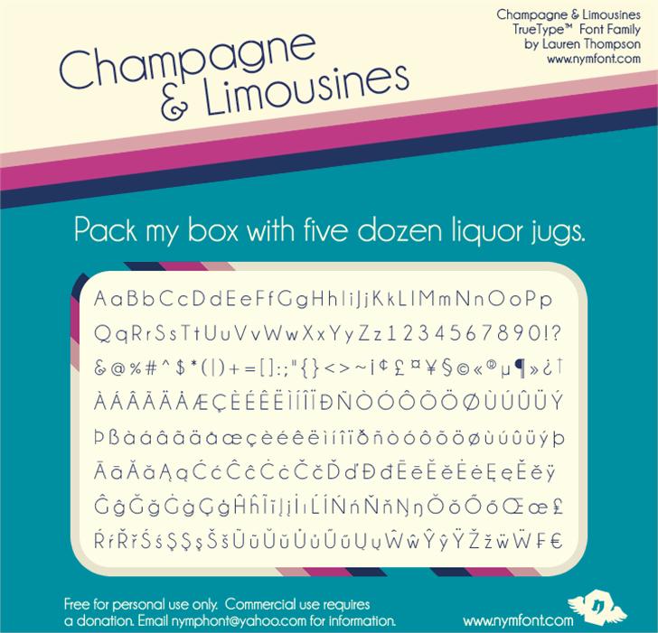 Champagne & Limousines Font text screenshot