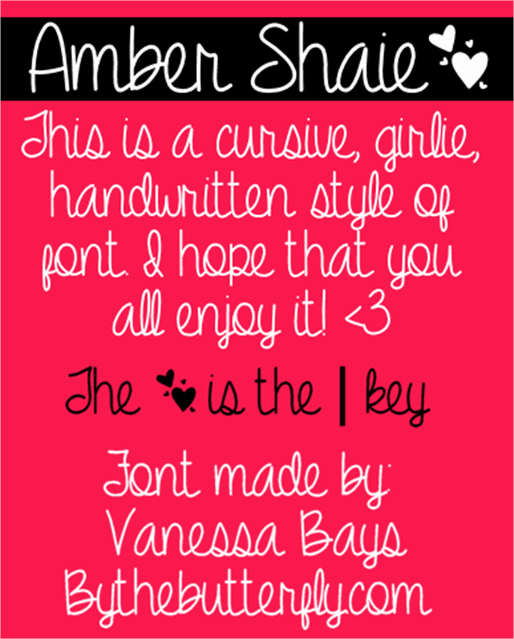 Amber Shaie Font text book