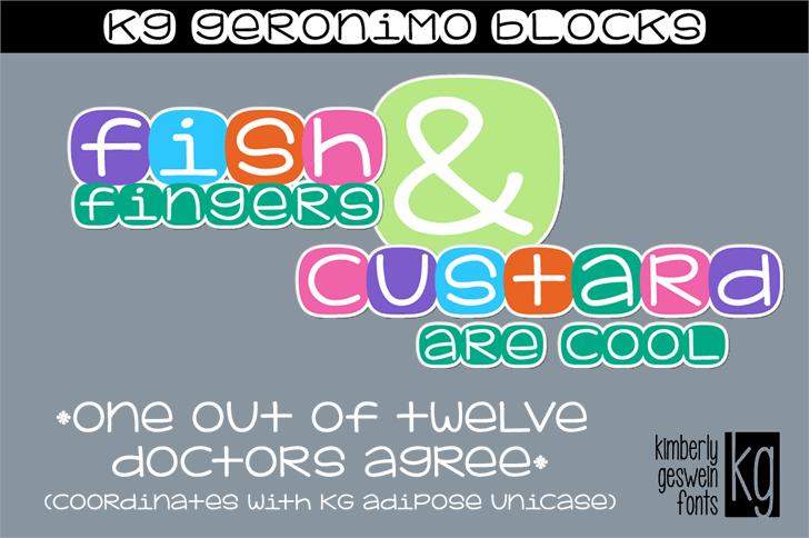 KG Geronimo Blocks Font design graphic