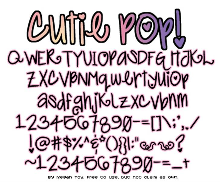 Cutie Pop Font handwriting typography