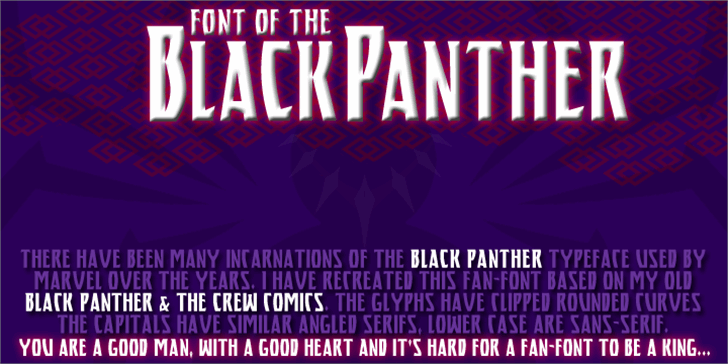 BLACK PANTHER Font screenshot poster