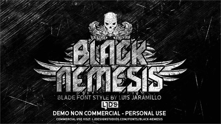 Black Nemesis Personal Use font by LJ Design Studios