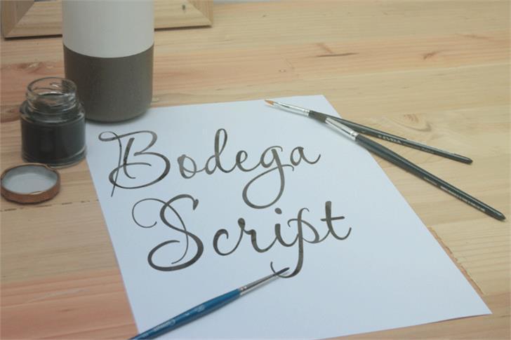 Bodega Script Font handwriting table
