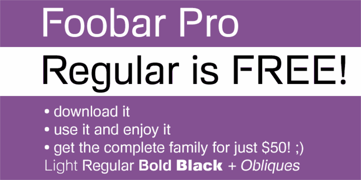 Foobar Pro font by CheapProFonts