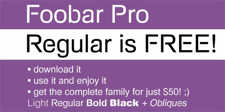 Foobar Pro Font screenshot design