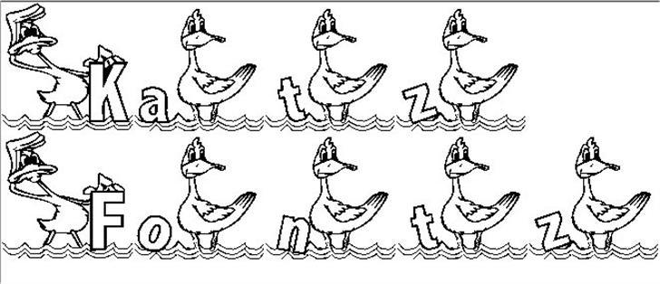 KG DUCKS2 Font sketch drawing