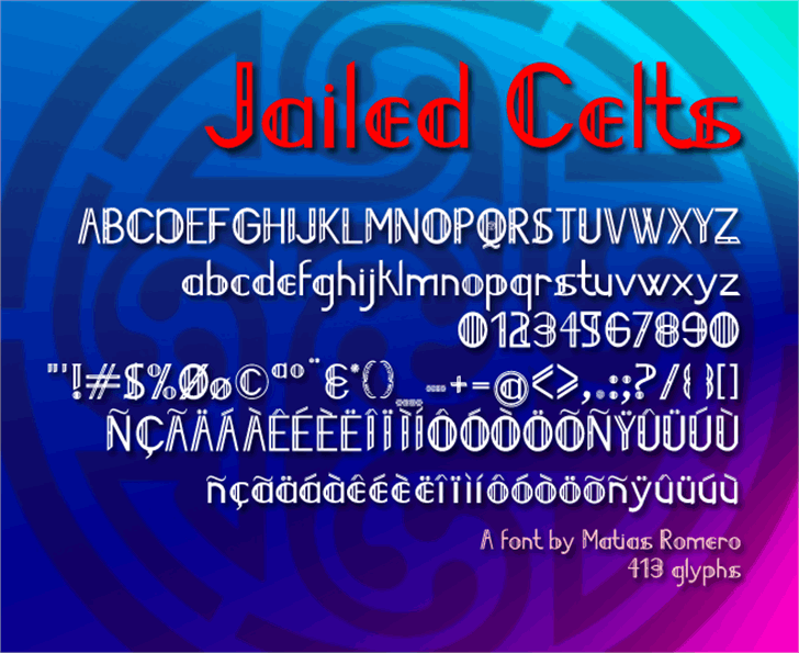 Jailed Celts Font screenshot graphic