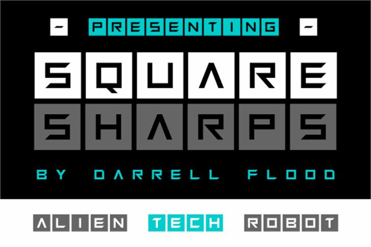 Squaresharps Font screenshot design