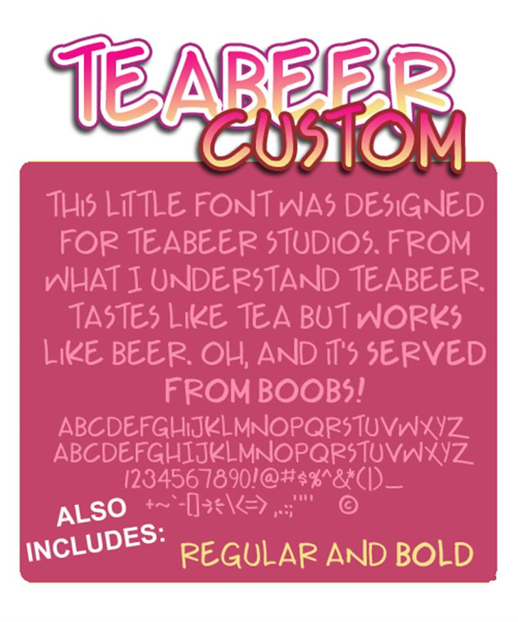 Teabeer Custom Font screenshot design