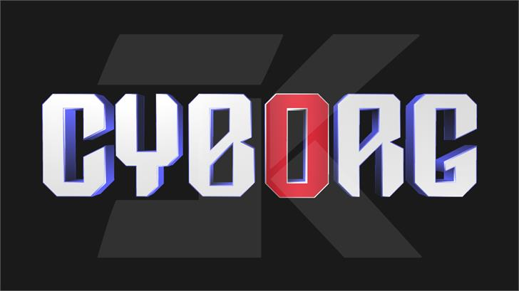 DC Cyborg Font design screenshot