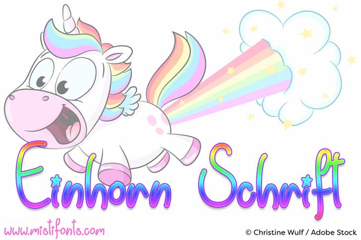 Einhorn Schrift Font cartoon drawing