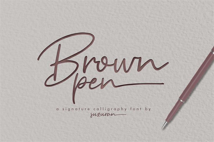 Brown Pen Font handwriting text