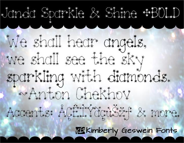 Janda Sparkle and Shine Font text screenshot