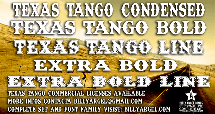 Texas Tango BOLD PERSONAL USE font by Billy Argel
