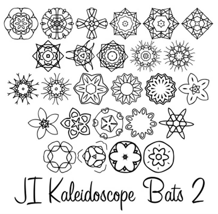 JI Kaleidoscope Bats 2 Font cartoon drawing