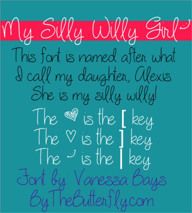 My Silly Willy Girl Font text handwriting