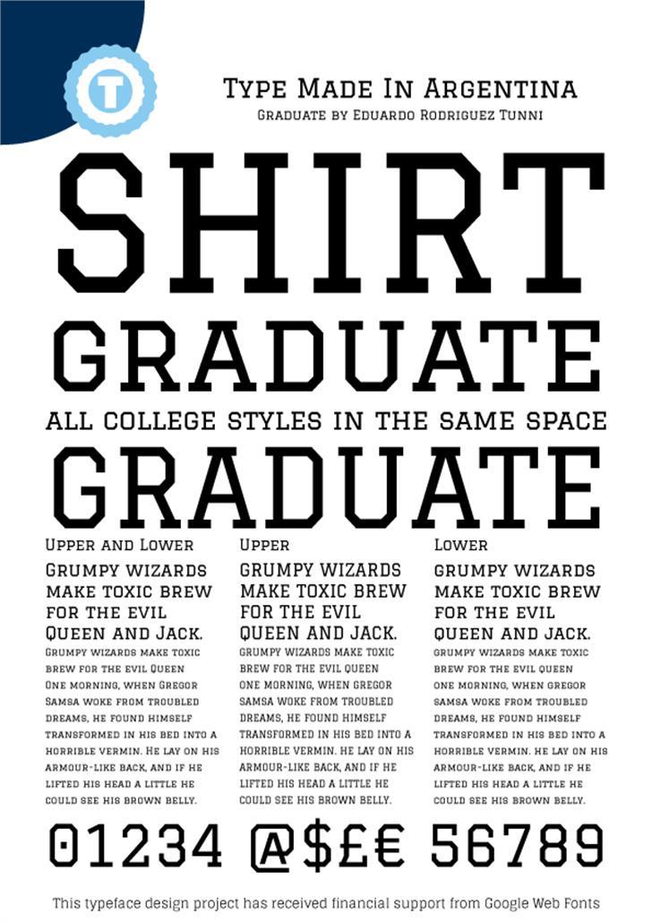 Graduate font by Eduardo Tunni
