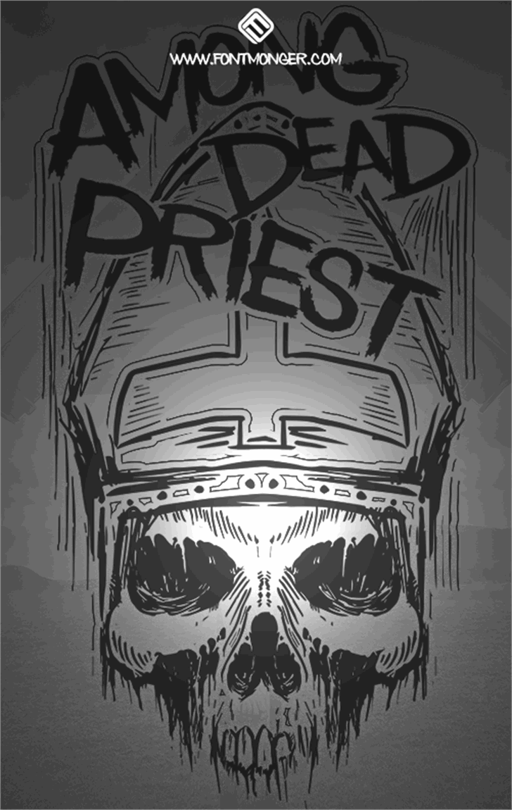 Among Dead Priest Font drawing sketch